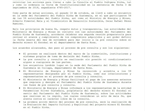 The Government of Guatemala and the Xinka Parliament agree to start pre-consultation process over the Escobal mining project in the department of Santa Rosa